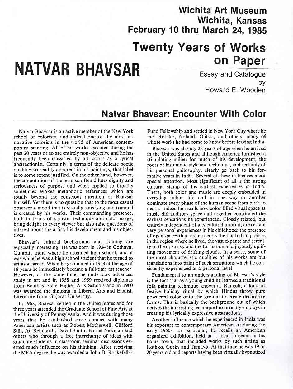 Natvar Bhavsar: Encounter With Color, essay, pg 1