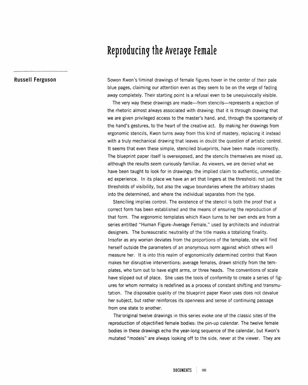 Reproducing the Average Female, article, pg 1