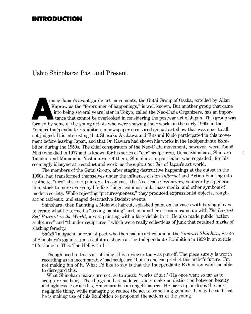 Ushio Shinohara: Past and Present, essay, pg 1