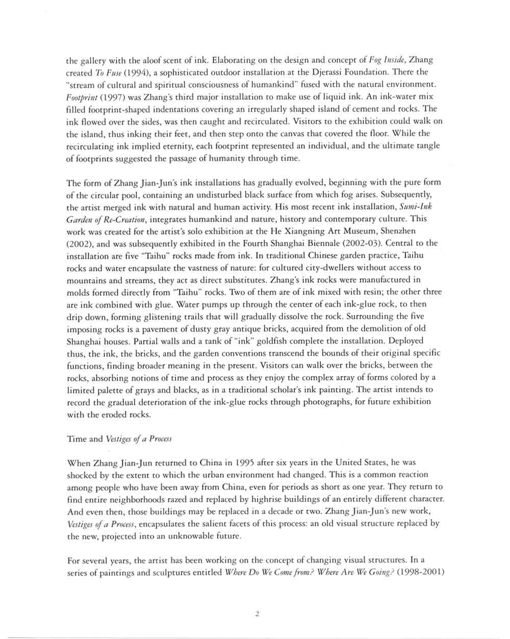Visual Experience of Time and Cultural Form Installations by Zhang Jian-Jun, essay, pg 2