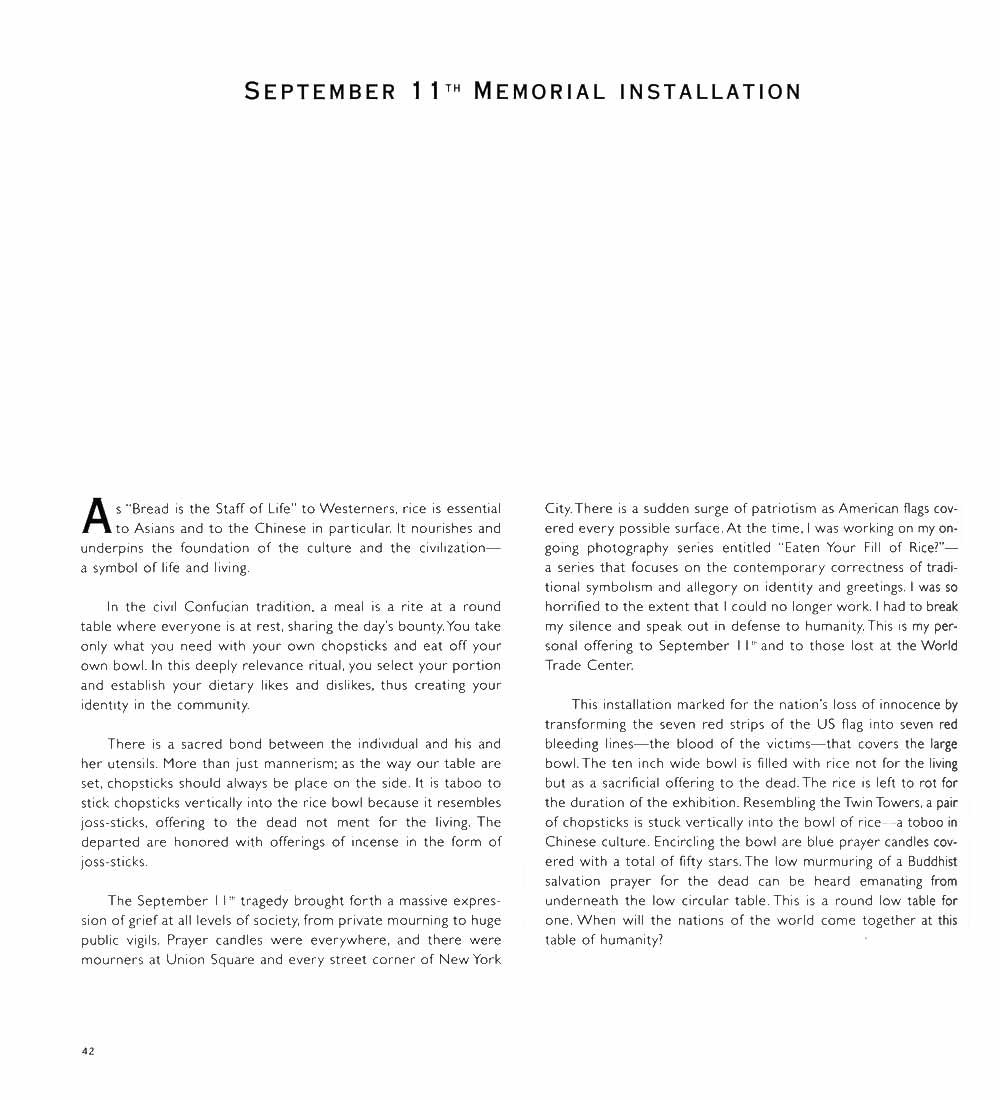 "Essay for ""September 11th Memorial Installation"", pg 1"
