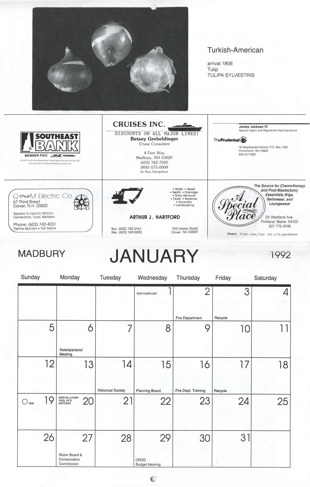 Madbury Calendar, pg 2