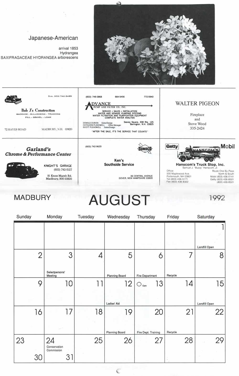 Madbury Calendar, pg 4