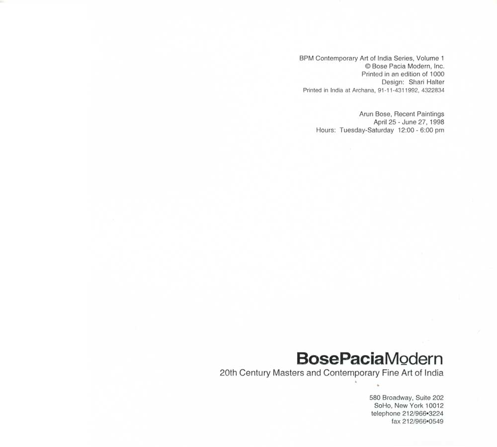 Arun Bose: Recent Paintings, colophon