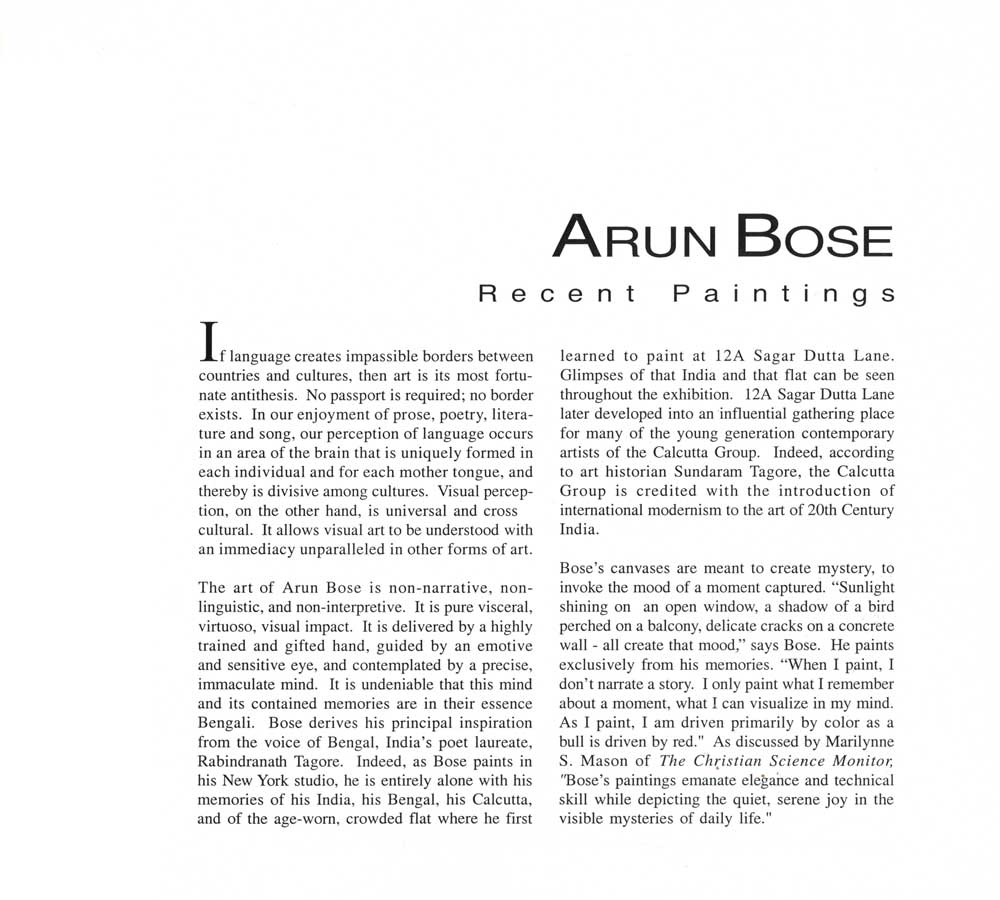 Arun Bose: Recent Paintings, essay