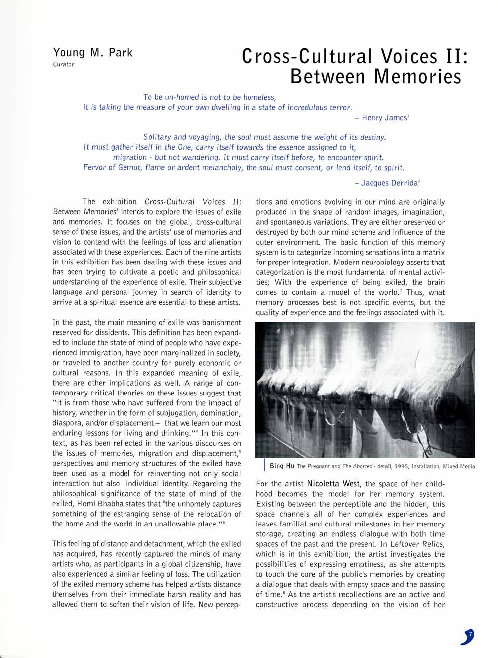Cross-Cultural Voices II, exhibition catalog, pg 4