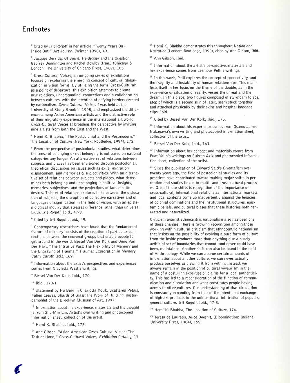 Cross-Cultural Voices II, exhibition catalog, pg 9