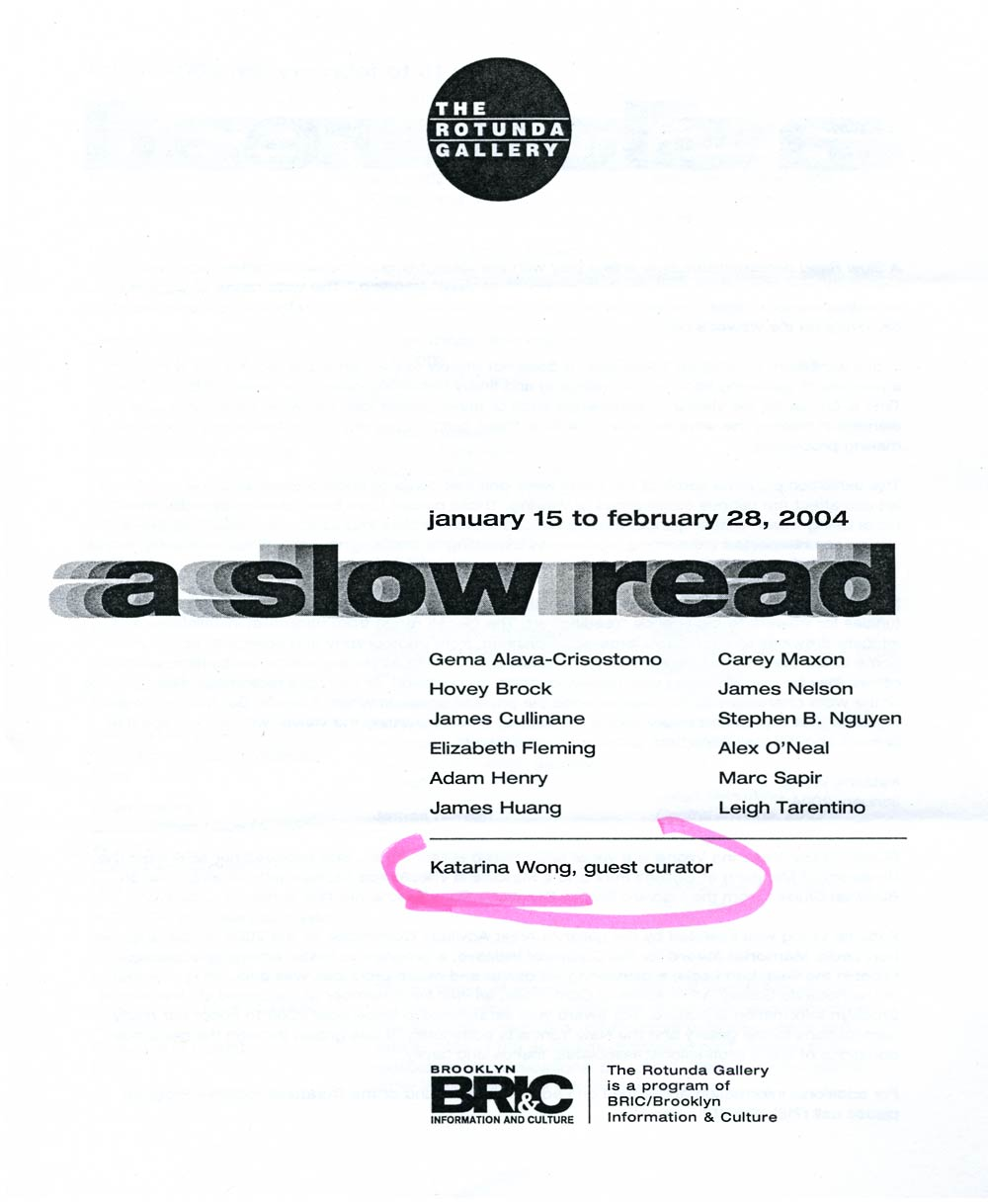 A Slow Read, pg 1