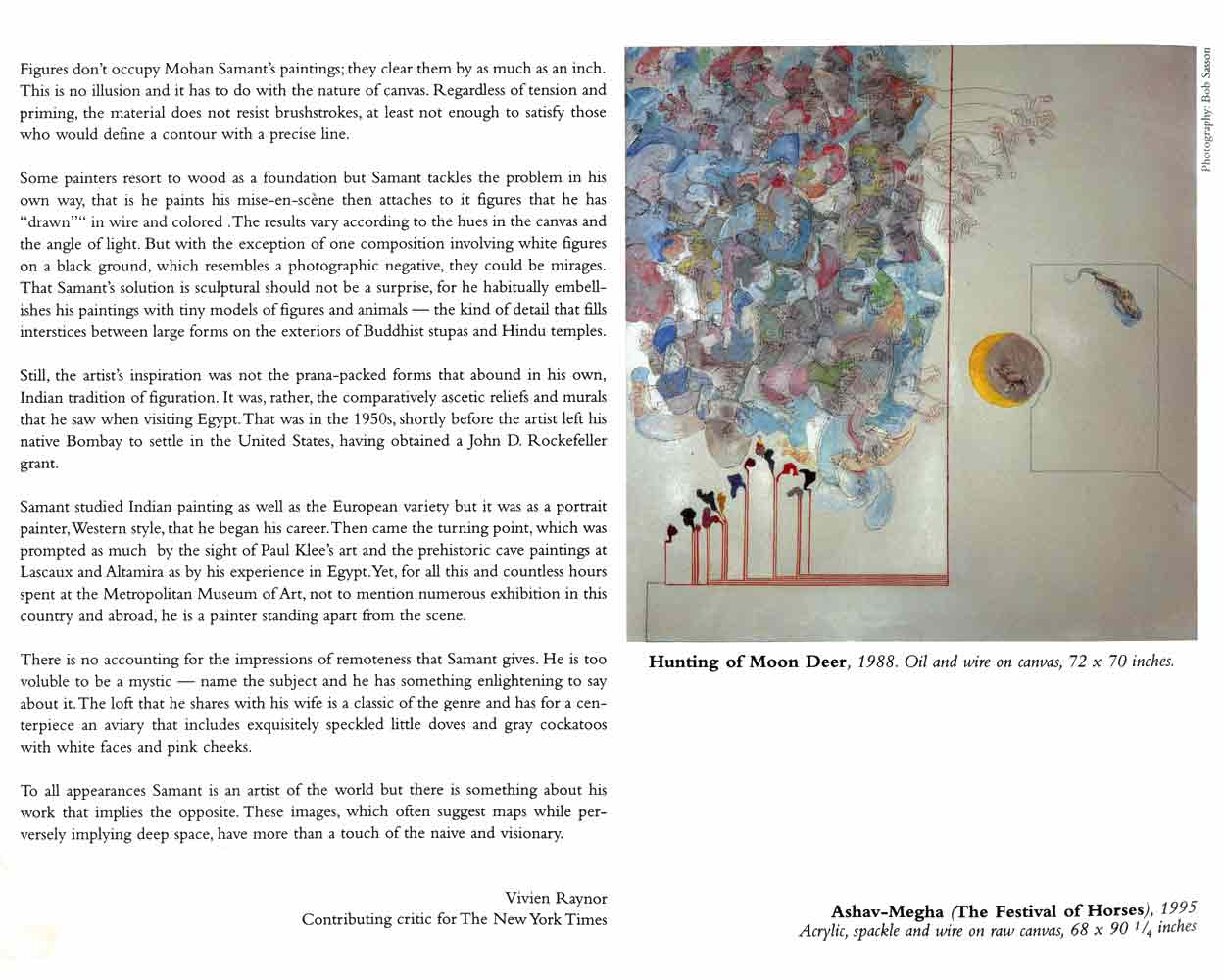 """Excerpts from exhibition leaflet for """"Mohan Samant"""", Gallery B.A.I."""