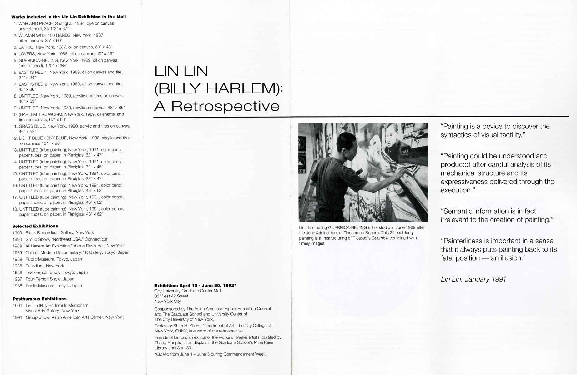 Exhibition Catalog: Lin Lin (Billy Harlem): A Retrospective