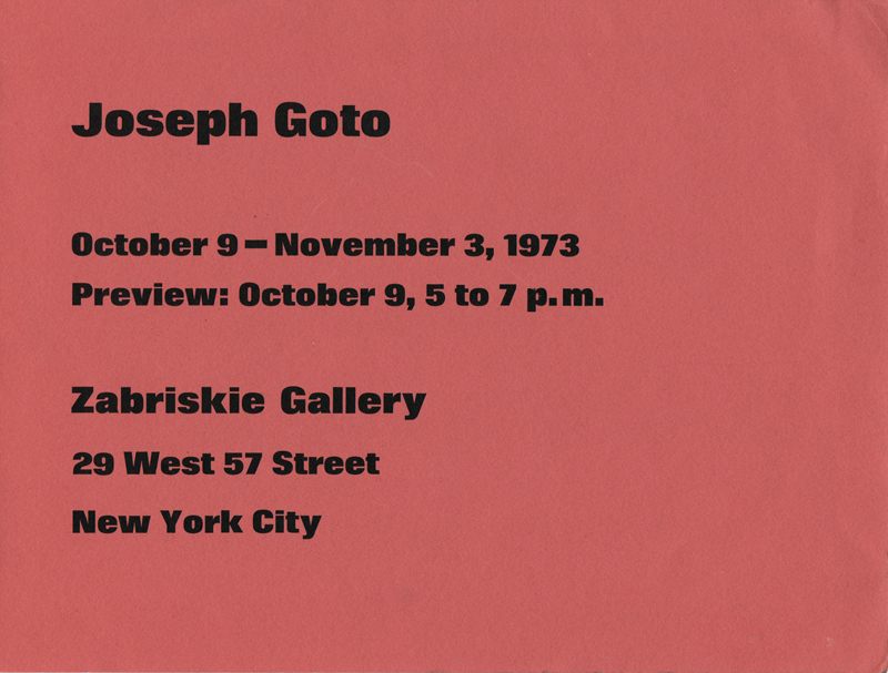 "Exhibition Catalog for ""Joseph Goto"", Zabriskie Gallery, New York City, 1973"