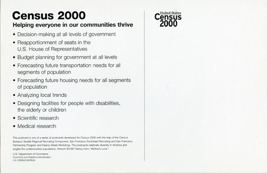"""Exhibition Postcard for """"United States Census 2000"""" Mother's Love, 2000"""