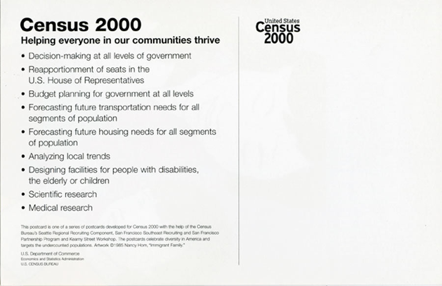 """Exhibition Postcard for """"United States Census 2000"""" Immigrant Family, 2000"""