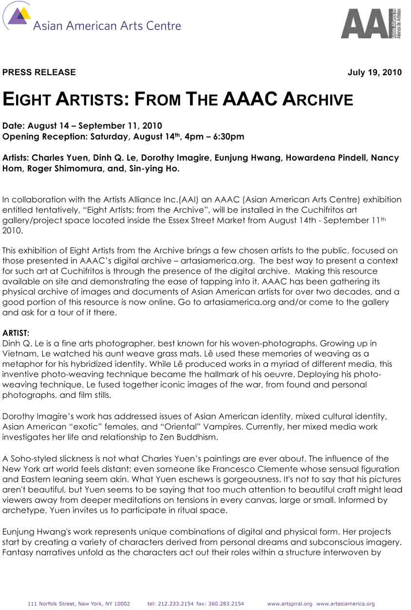 Exhibition Press Release for &quot;Eight Artists: From the AAAC Archive&quot;, Asian American Arts Centre, 2010