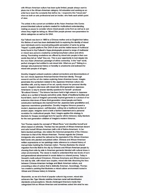 Mixed Skin, press release, pg 4
