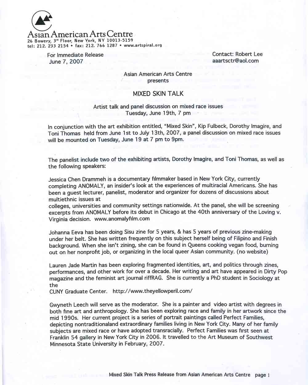 Mixed Skin press release, pg 1