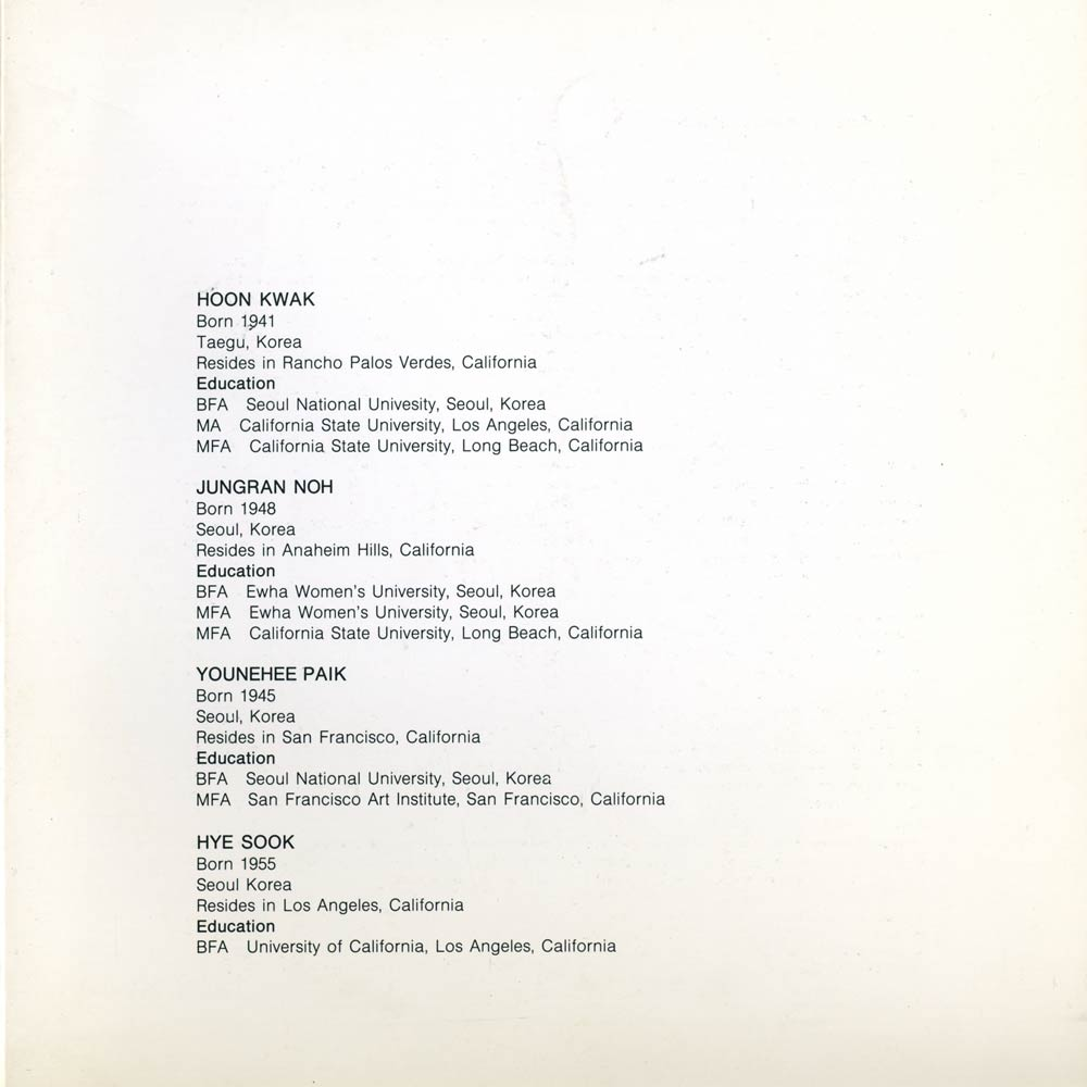 Four Korean American Painters, brochure, pg 2