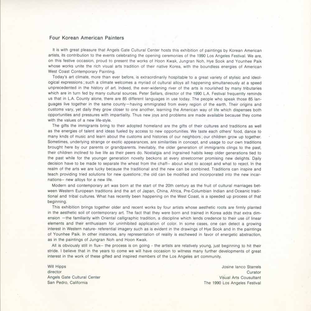 Four Korean American Painters, brochure, pg 3