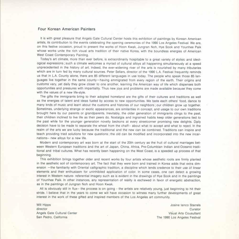 Four Korean American Painters, brochure, pg 3