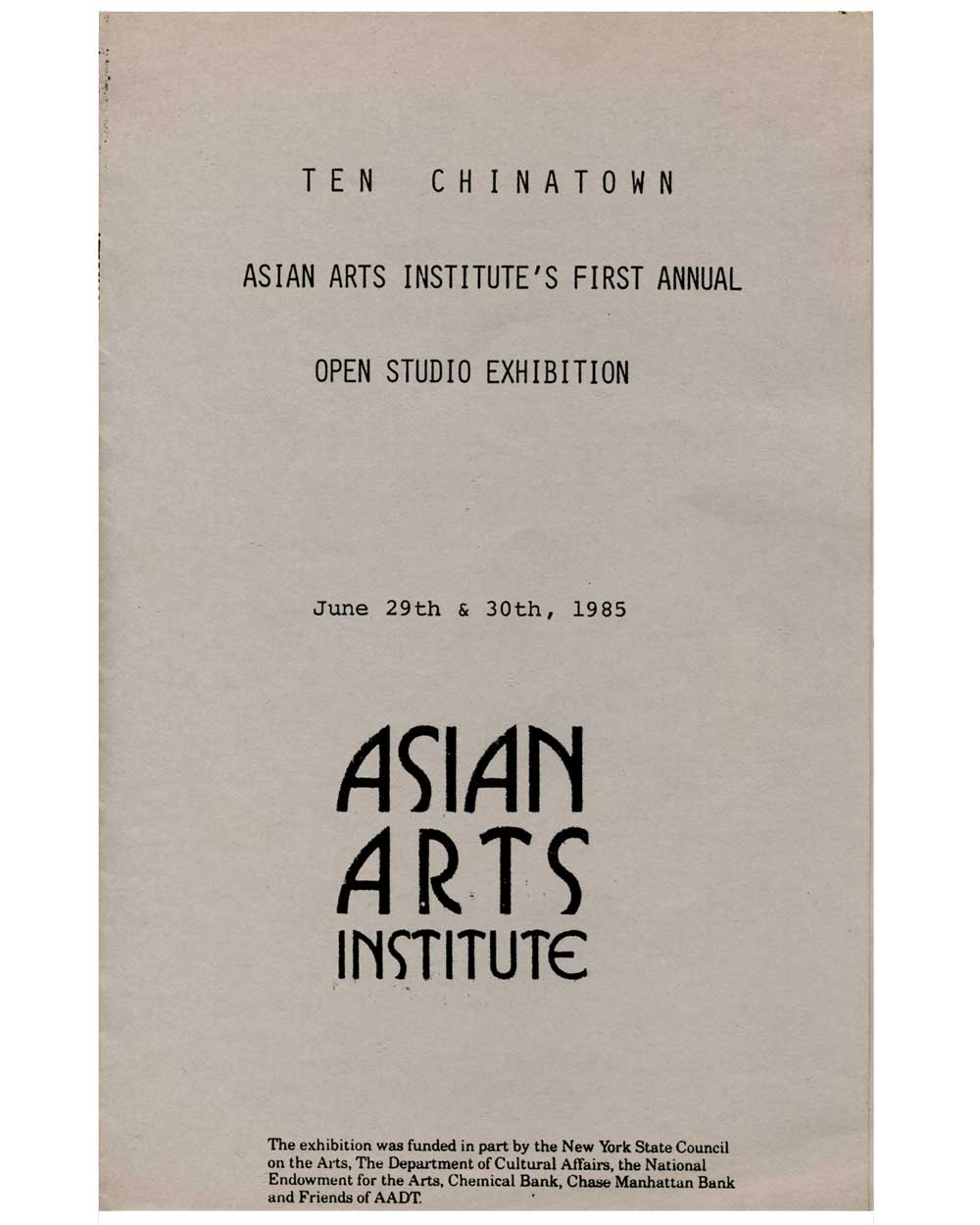Ten Chinatown, First Annual brochure, pg 1
