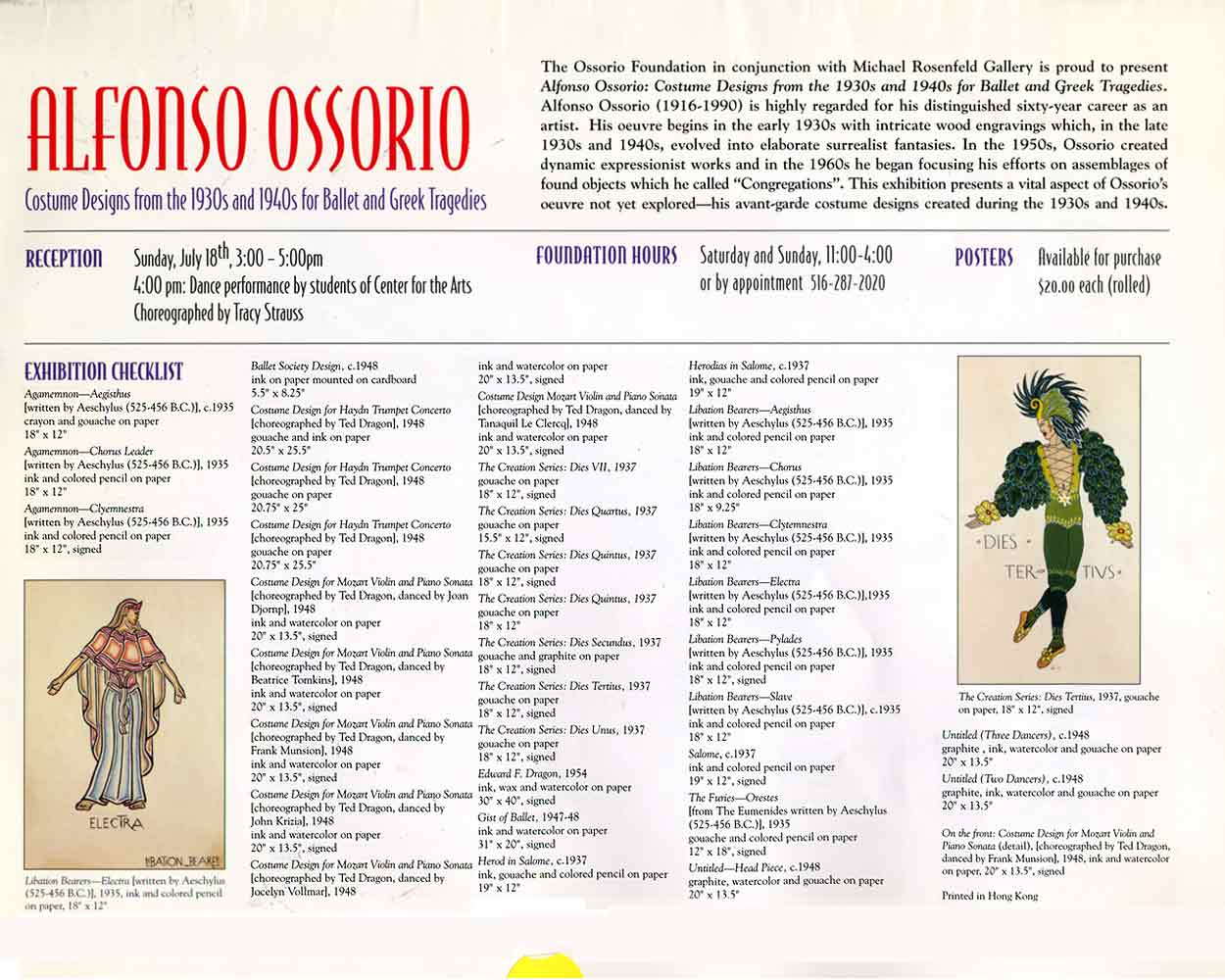 Alfonso Ossorio: Costume Designs, flyer, pg 1
