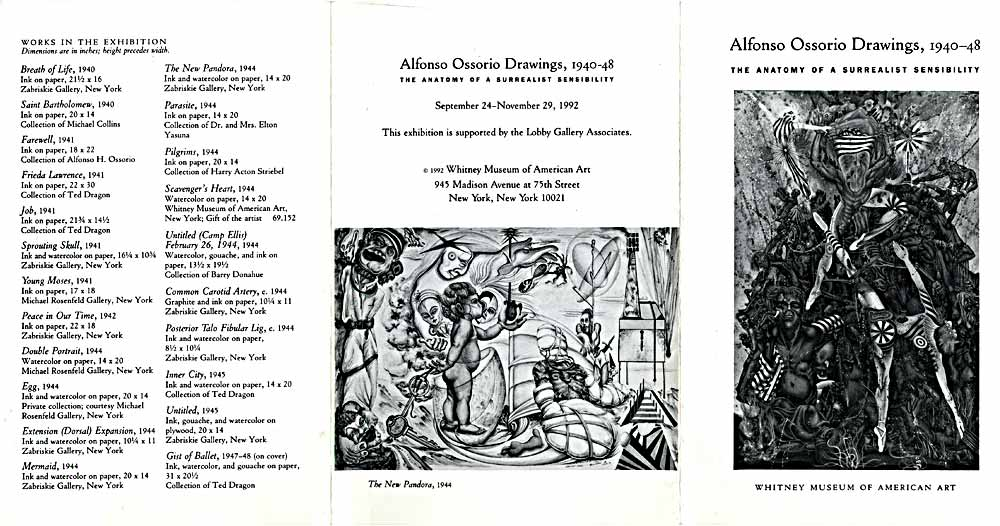 Alfonso Ossorio Drawings, flyer, pg 1