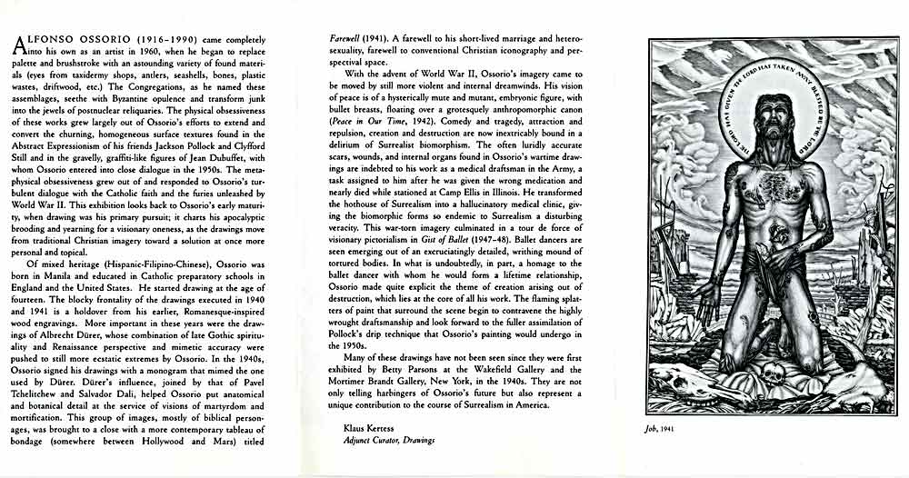 Alfonso Ossorio Drawings, flyer, pg 2