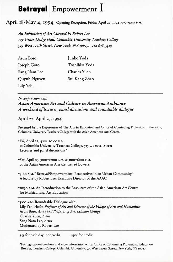 Betrayal / Empowerment, flyer, pg 2
