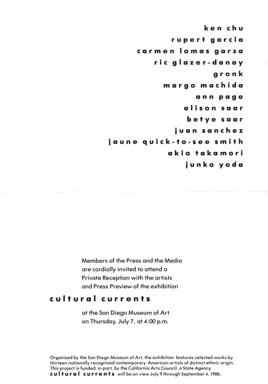 Cultural Currents, flyer, pg 1