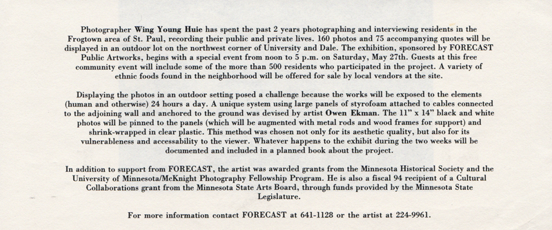 "Exhibition Flier for ""Frogtown"", University and Dale, Frogtown, 1995"
