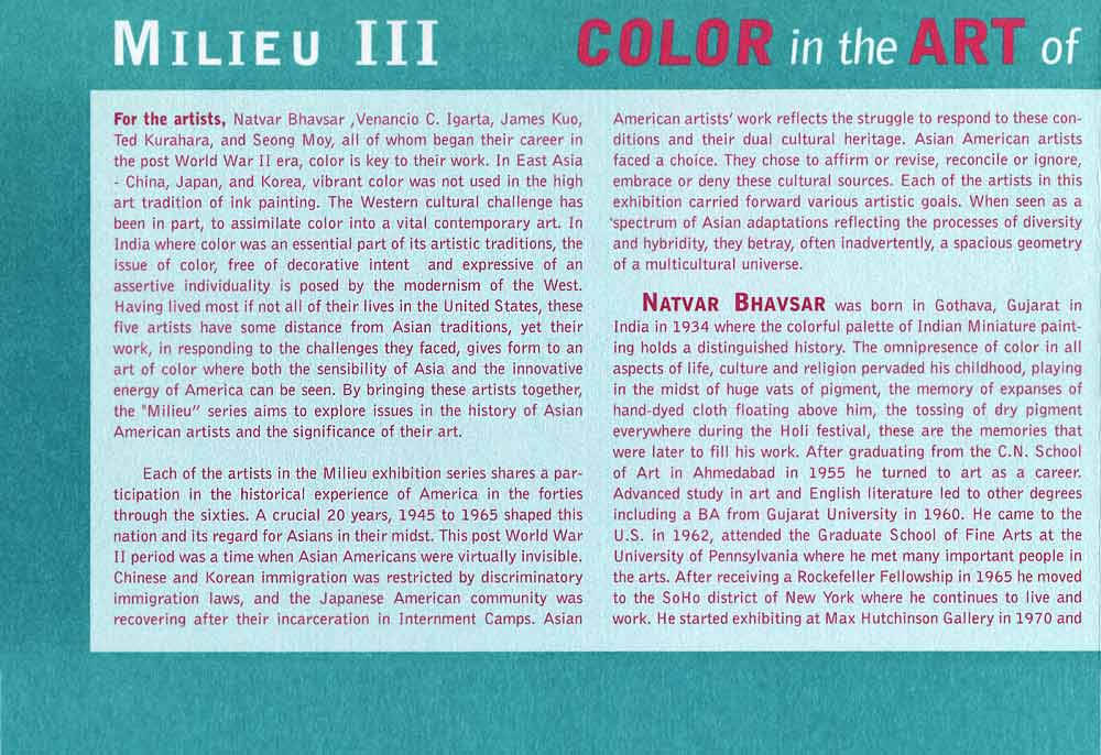 Milieu III: Color in the Art of, flyer, pg 3