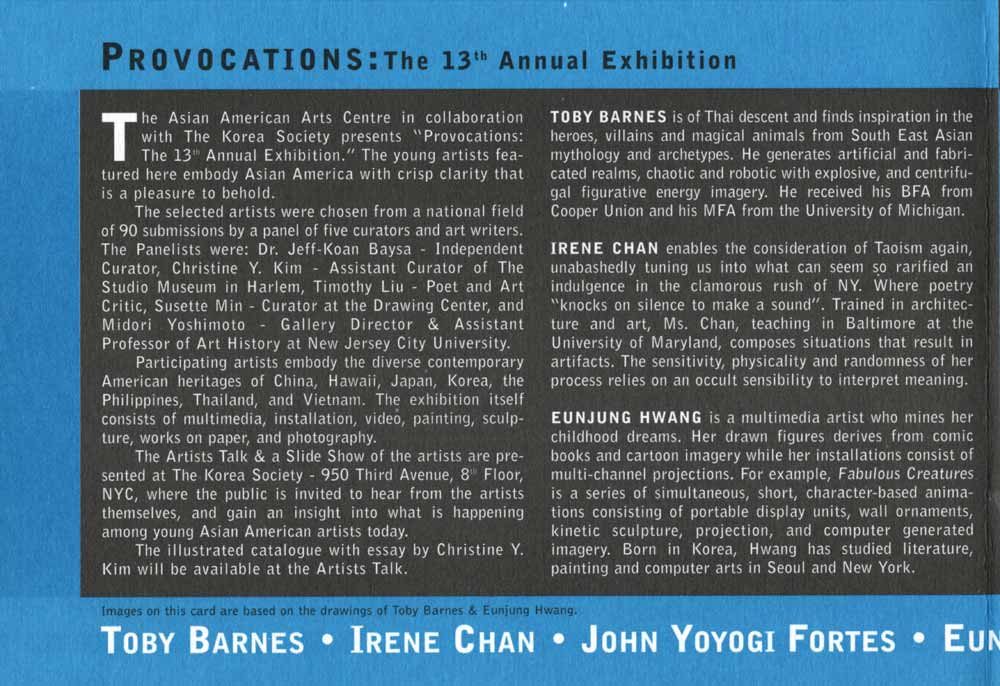 Provocations, flyer, pg 2