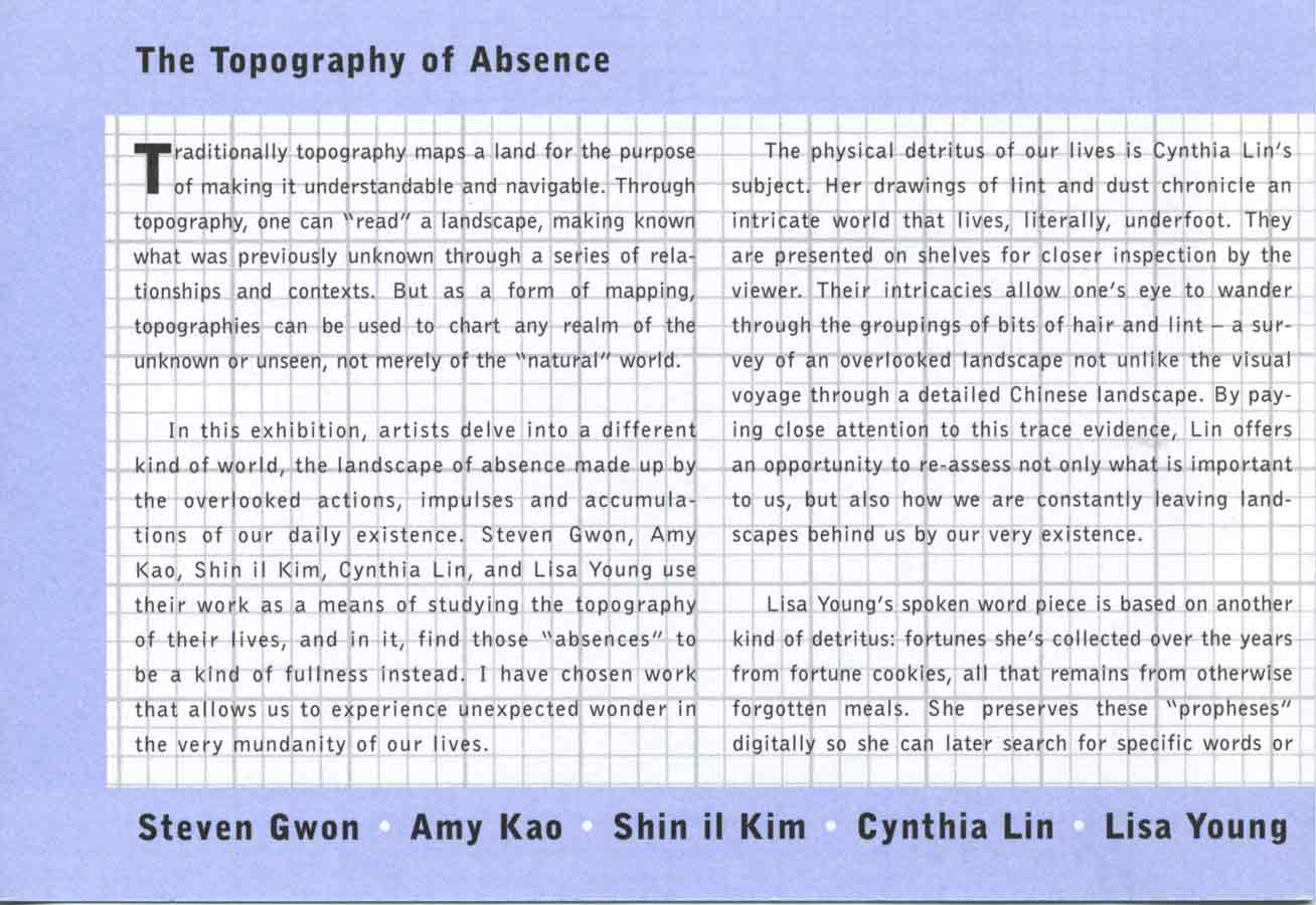 The Topography of Absence, flyer, pg 2