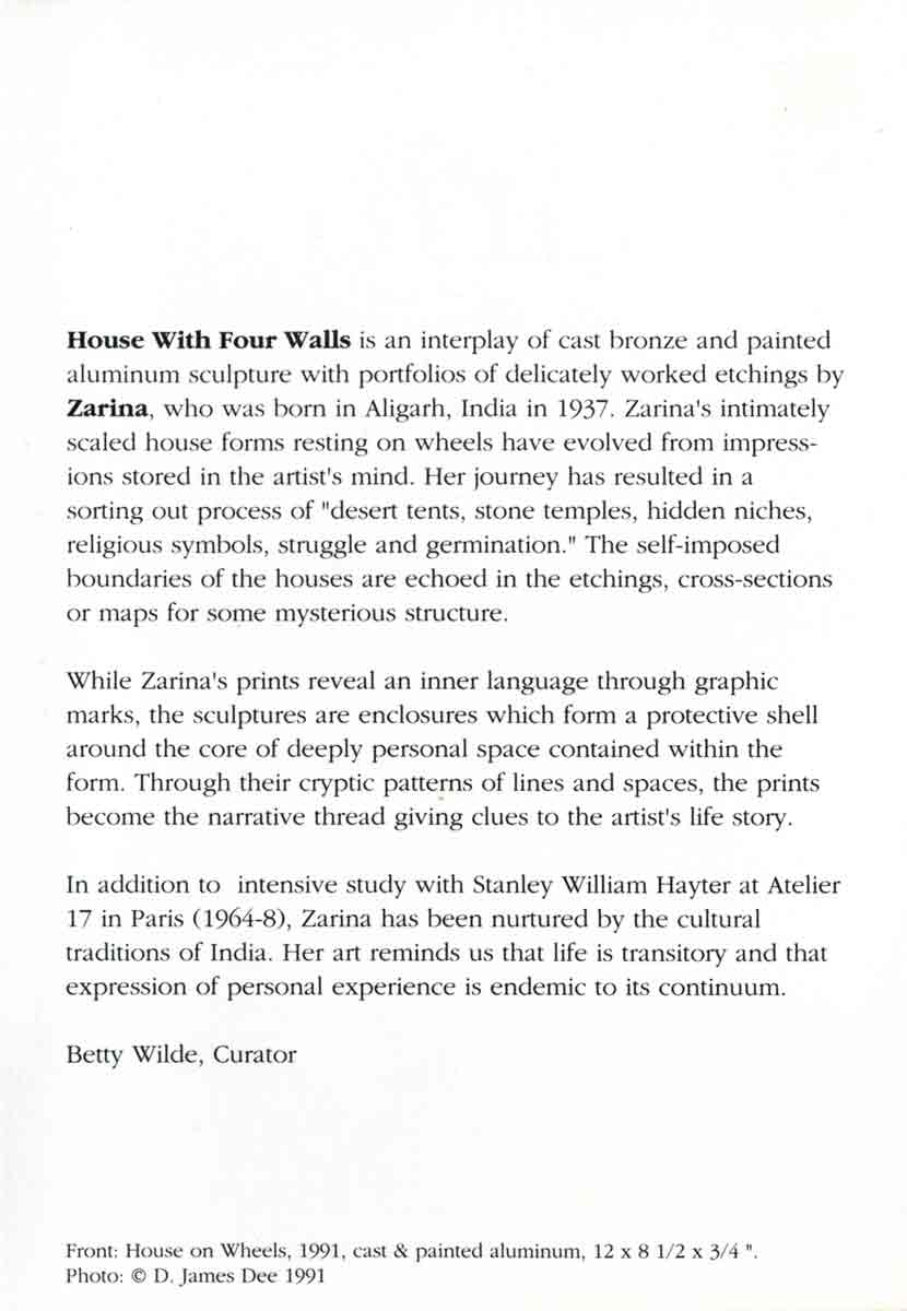 Zarina: House With Four Walls, flyer, pg 2
