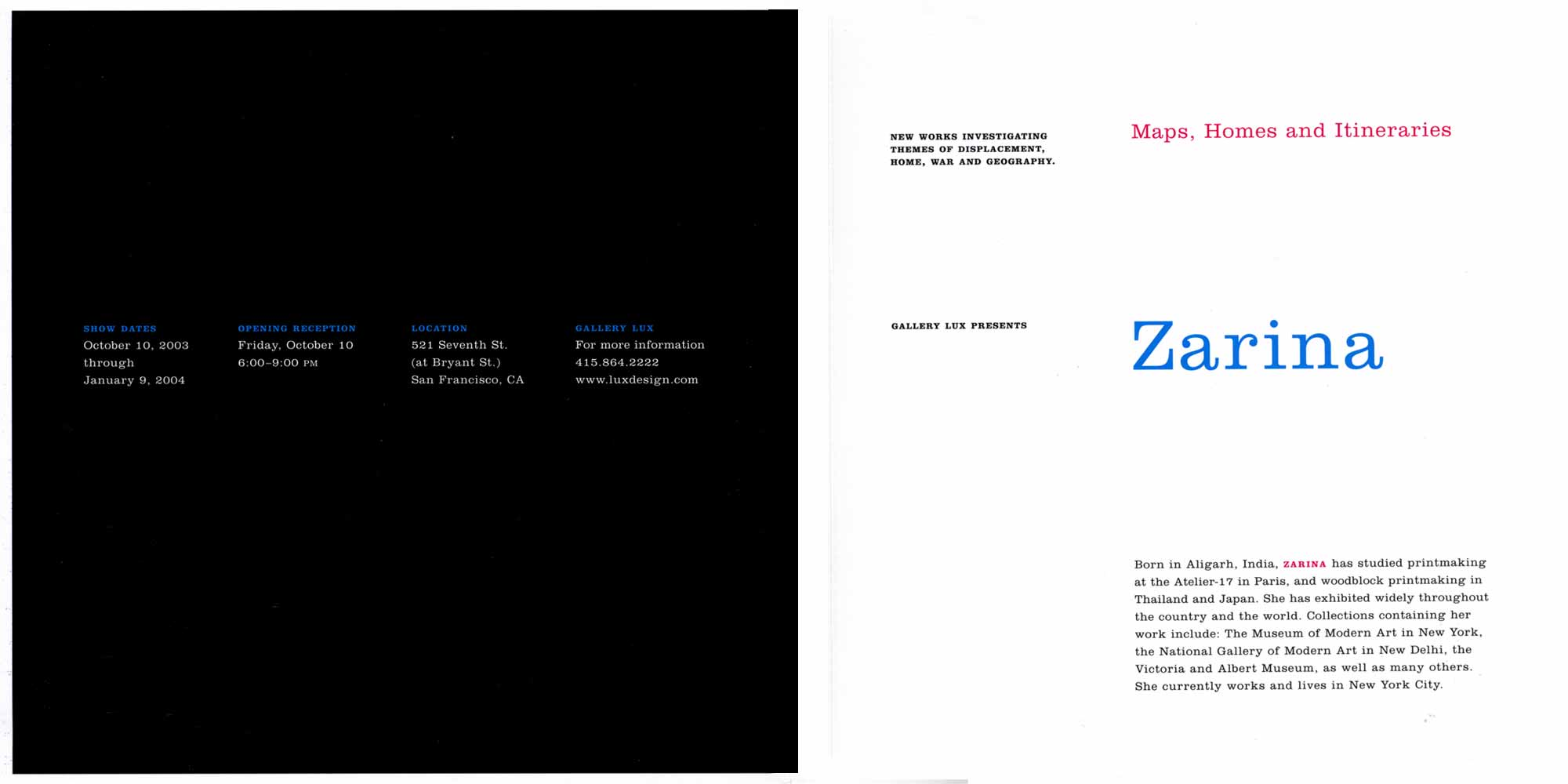 Zarina: Maps, Homes and Itineraries, flyer, pg 2
