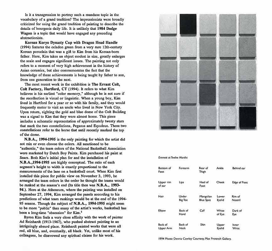Byron Kim / Matrix 125, leaflet, pg 3