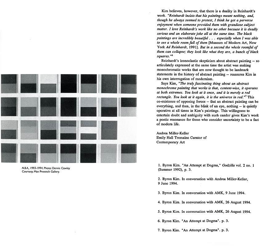 Byron Kim / Matrix 125, leaflet, pg 4