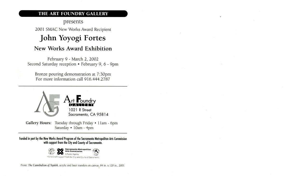 2001 SMAC New Works Award Recipient: John Yoyogi Fortes, postcard, pg 2