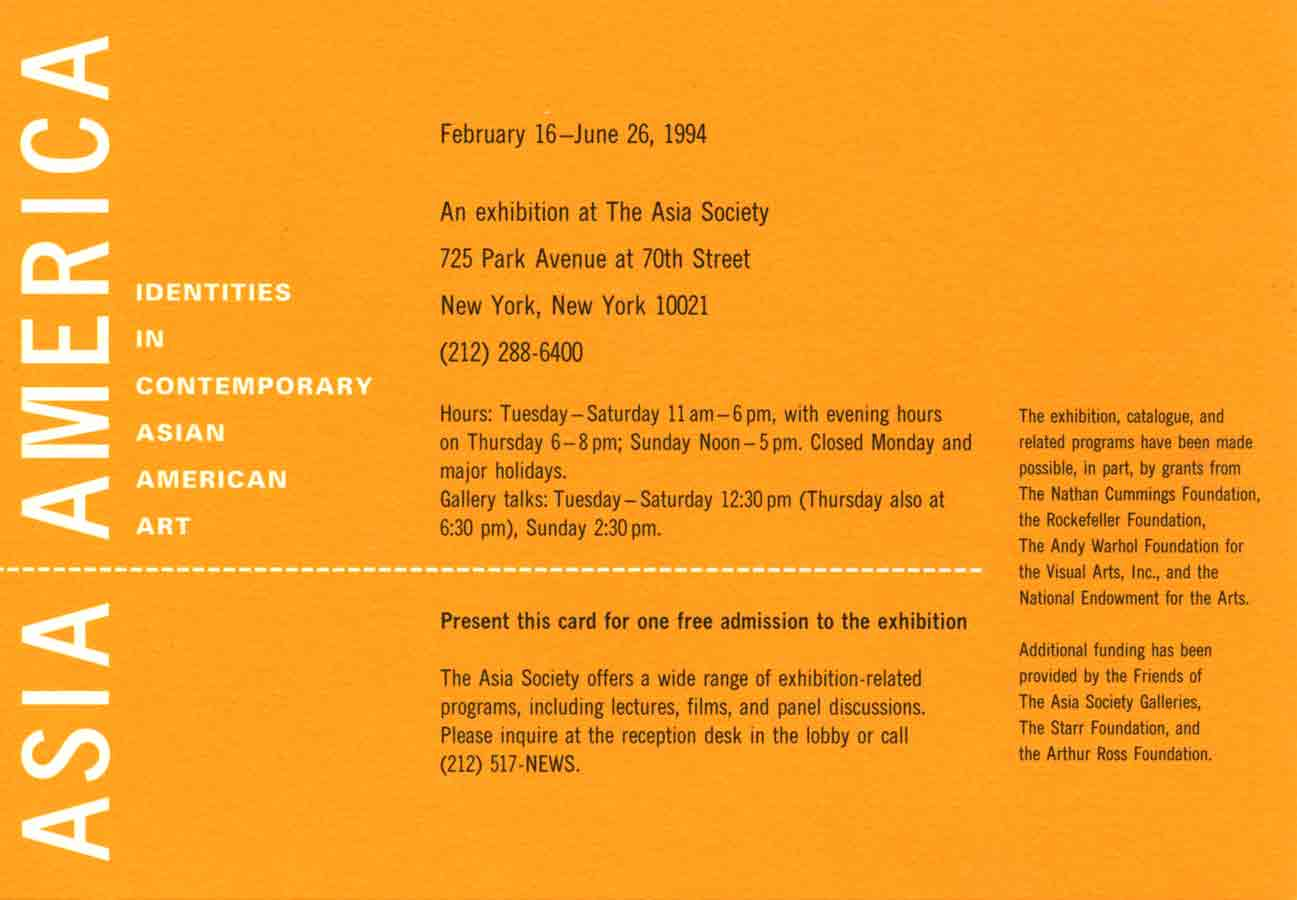 Asia/America: Identities in Contemporary Asian American Art, postcard, pg 1