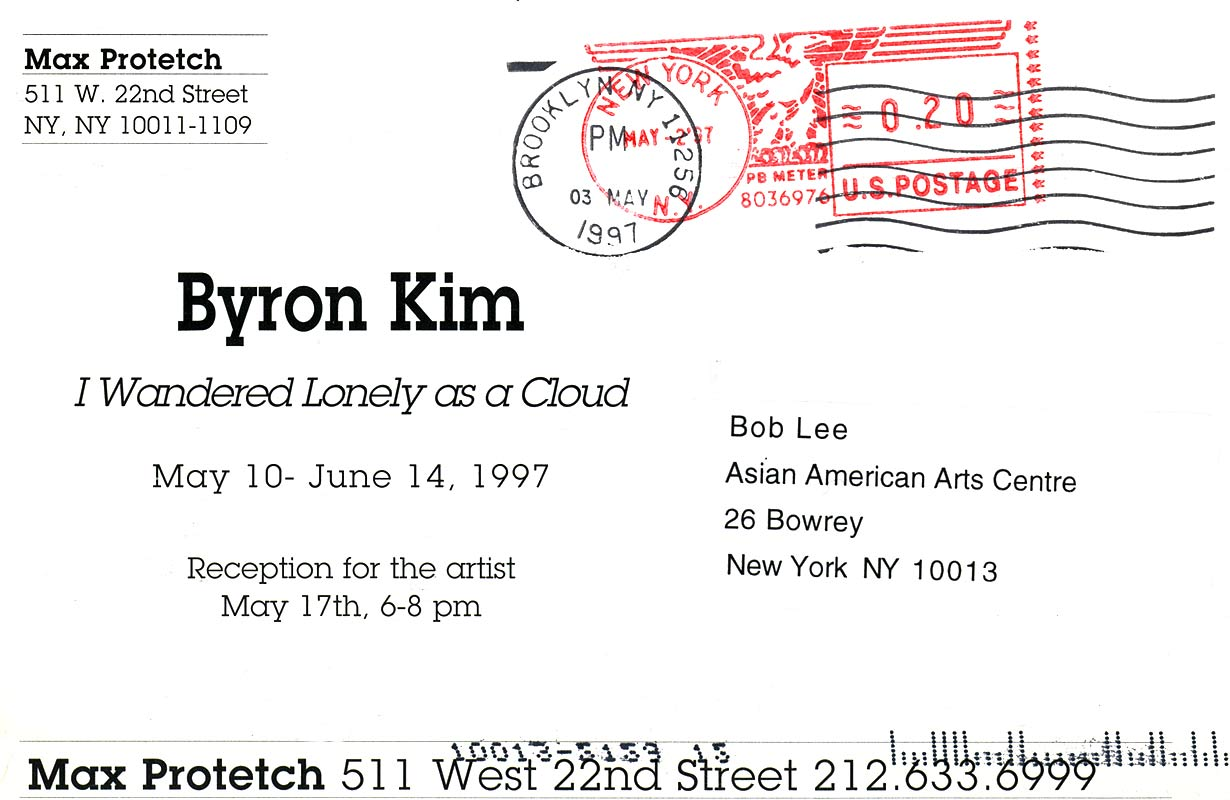 Byron Kim: I Wandered Lonely as a Cloud, postcard, pg 2