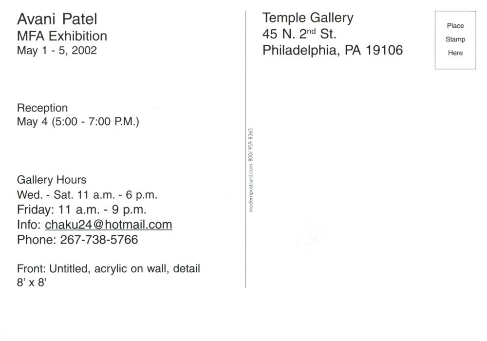 MFA Exhibition, postcard, pg 2