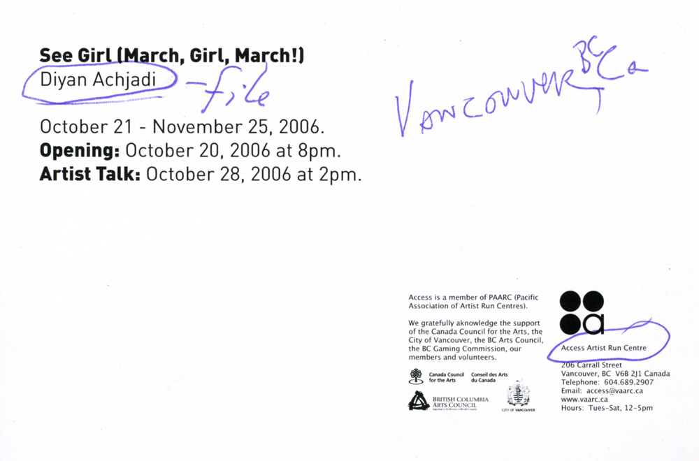 See Girl (March, Girl, March!), postcard, pg 2