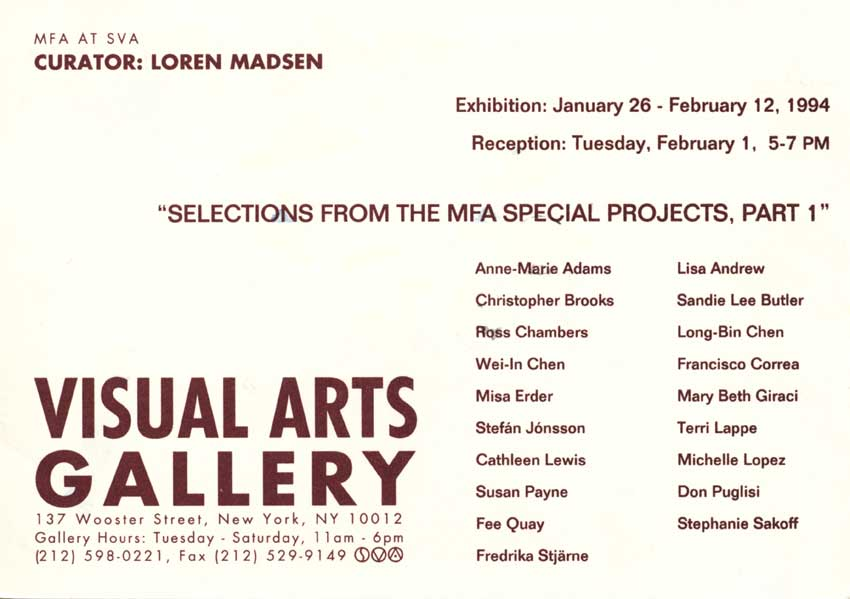 Selections from the MFA Special Projects, postcard