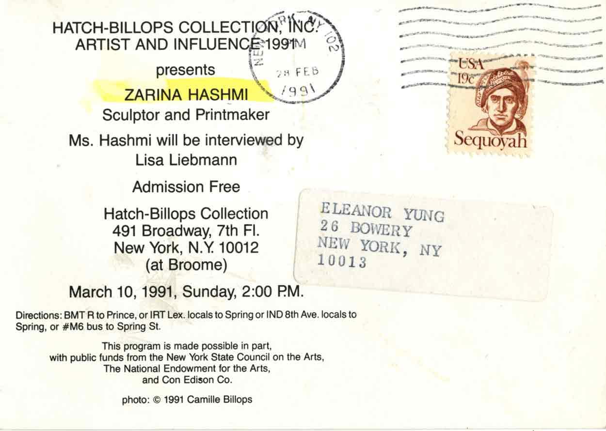 Zarina Hashmi: Sculptor and Printmaker, postcard, pg 2
