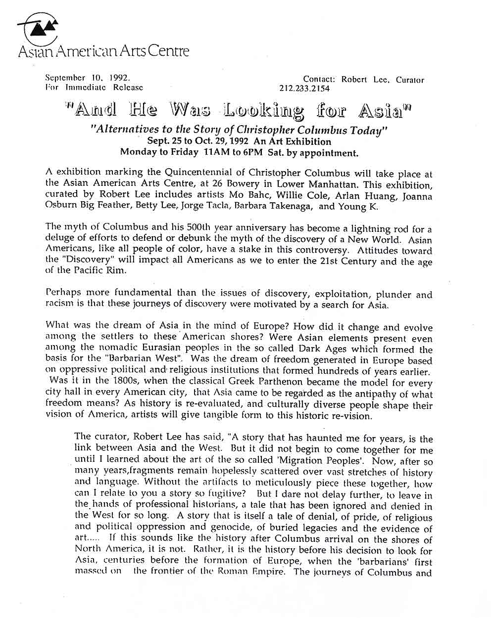And He Was Looking For Asia, postcard, press release, pg 1