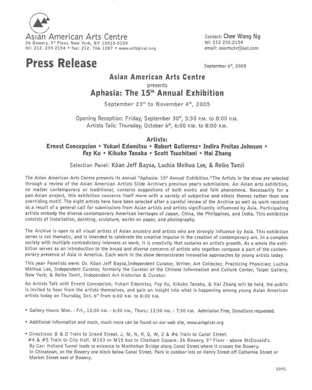 Aphasia press release, pg 1