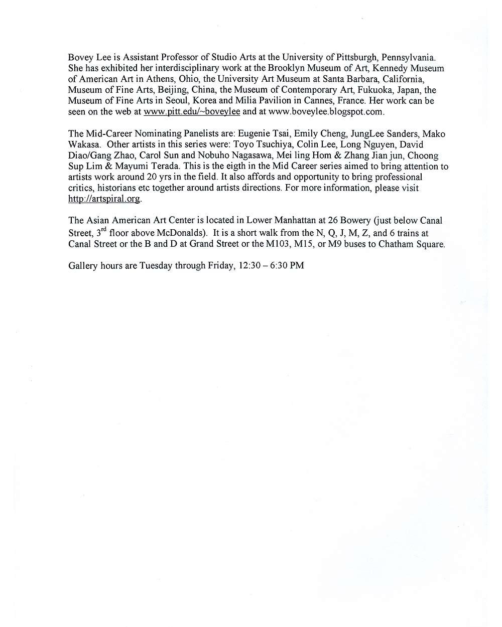 ing Lee/Bovey Lee at Mid-Career, press release, pg 2