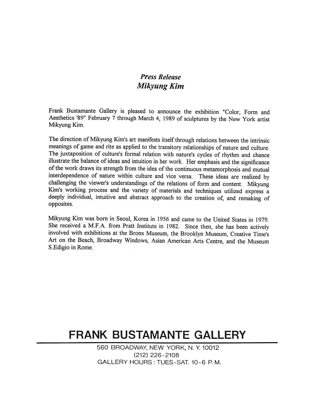 Color, Form and Aesthetics '89, press release