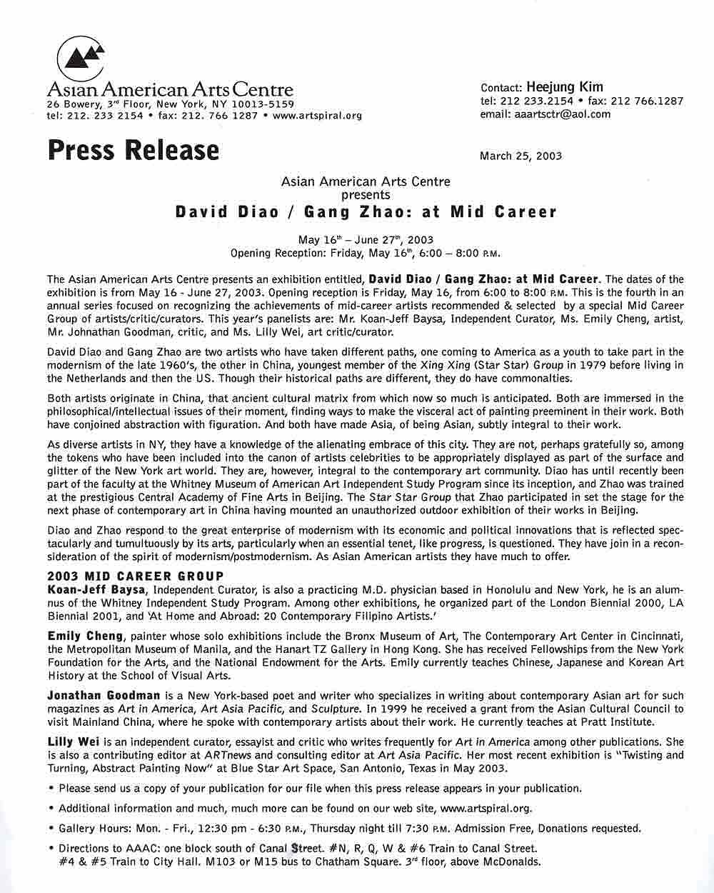 David Diao/Gang Zhao: at Mid Career, press release