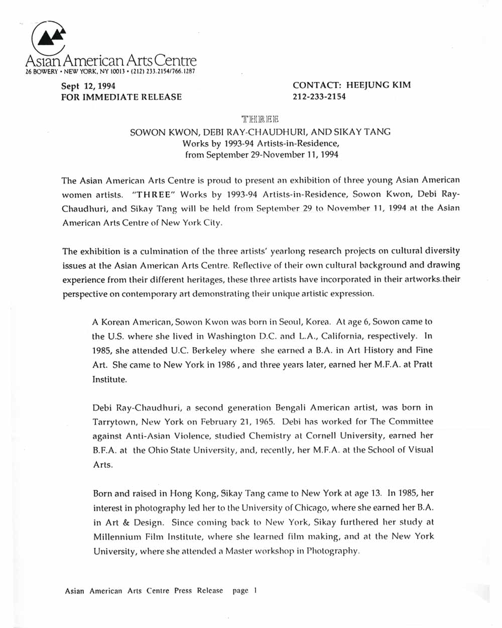 Debi Ray-Chaudhuri, Sowon Kwon, Sikay Tan, press release, pg 1